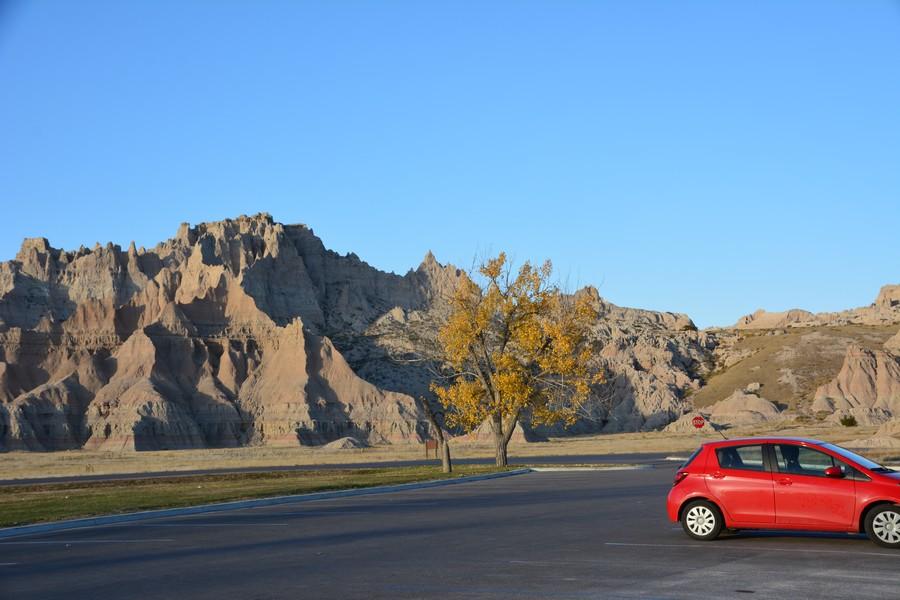 Sur un parking à Baldlands National Park