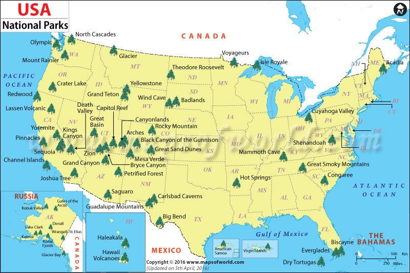 Carte des parcs nationaux