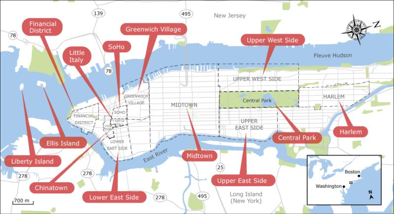 Carte quarties New York
